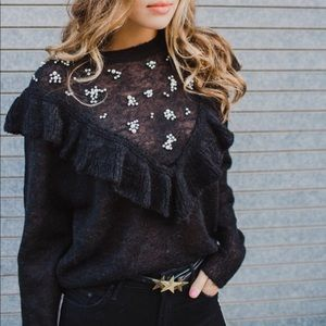NWT WILDFOX Jeweled Ruffle Sweater